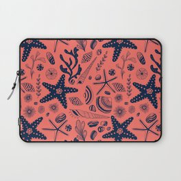 Sea shells on living coral background Laptop Sleeve