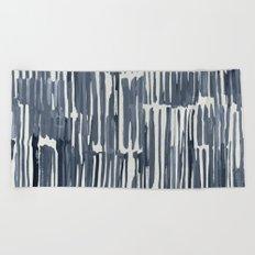 Simply Bamboo Brushstroke Indigo Blue on Lunar Gray Beach Towel