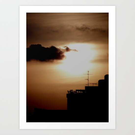 Sunset over the city Art Print