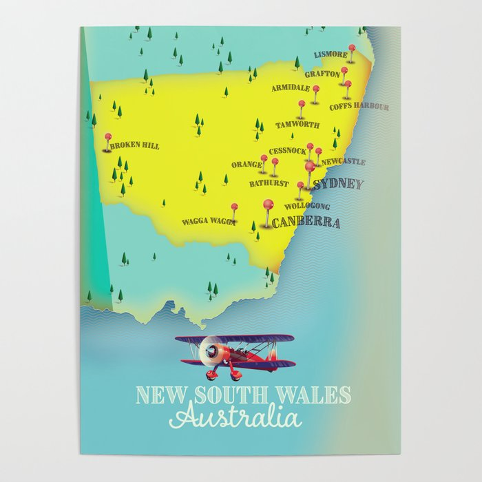 Australia Travel Map.New South Wales Australia Vintage Style Travel Map Poster By Nicholasgreen