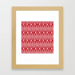 Japanese Spitz fair isle dog breed silhouette pet art pattern christmas ugly sweater Framed Art Print