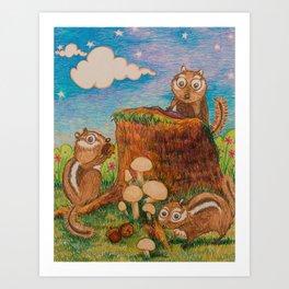 Chipmunk Picnic Art Print