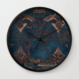 Rose gold and cobalt blue antique world map with sail ships Wall Clock