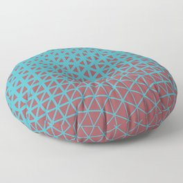 Red and Aqua Geometric Triangle Wave Pattern 2021 Color of the Year Passionate & September Skies Floor Pillow