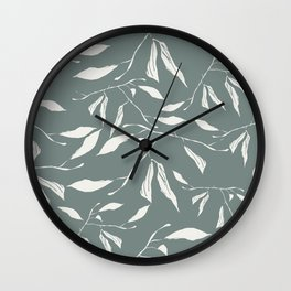 Branches and leaves in sage color Wall Clock
