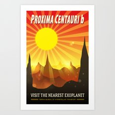 Proxima Centauri b Exoplanet Travel Illustration Art Print