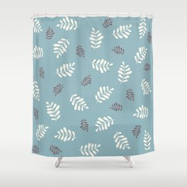 Falling Leaves – Blue Shower Curtain