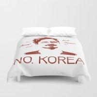 korea Duvet Covers featuring No, Korea by HMS James