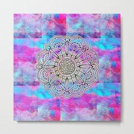Cotton Candy Mandala Glow Metal Print