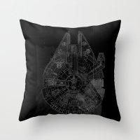 millenium falcon Throw Pillows featuring Millenium Falcon by Black Brain
