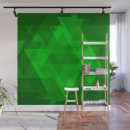 Bright green large triangles in the intersection and overlay. Wall Mural