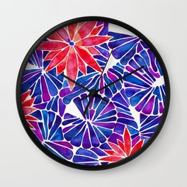 Water Lilies – Indigo & Red Palette Wall Clock