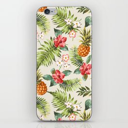pineapple with tropical flower iPhone Skin