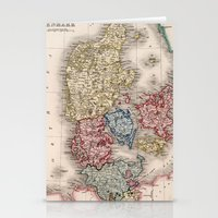 denmark Stationery Cards featuring Vintage Map of Denmark (1838) by BravuraMedia