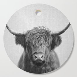 Highland Cow - Black & White Cutting Board