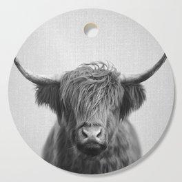 Highland Cow - Black & White Cutting Board