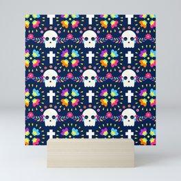Latin Dios De Los Muertos Neon Sugar Skull and Cross Pattern Mini Art Print