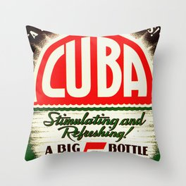 Vintage Cuba Soft Drink Poster Throw Pillow