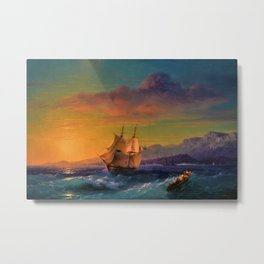 Ship at Sunset off of Cape Martin by Ivan Aivazovsky Metal Print