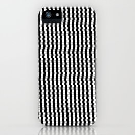 Offset Black and White Lines, Hypnotic Block Pattern Illustration iPhone Case