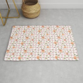 Bear & Mouse - Cute 4 Kids - Little Foxes In Forest Pink Gingham Pattern Rug