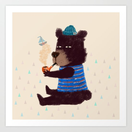 BLACK BEAR SAILOR II Art Print