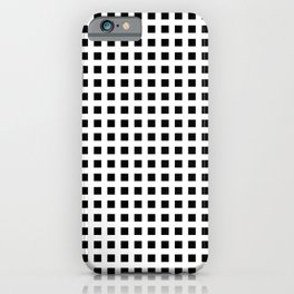 Horizontal and vertical lines. Grid stripes. Geometric squares pattern. Minimalism. Black and white. iPhone Case