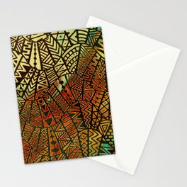 Tribal  Boho Pattern Gold and Paint Stationery Cards