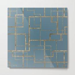 Blueprint Geometric Pattern 1 Metal Print