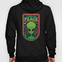Green Alien Face Head I Come In Peace Hoody
