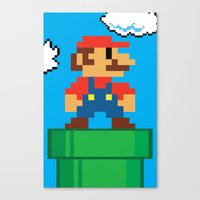 mario bros Canvas Prints featuring Mario Bros by WaXaVeJu