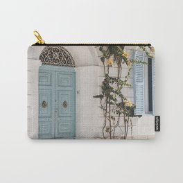 BLUE WOODEN DOOR WITH GREEN PLANT Carry-All Pouch