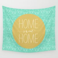 home sweet home Wall Tapestries featuring Home sweet home 2 by Allyson Johnson