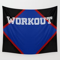 workout Wall Tapestries featuring WORKOUT by Gravityx9