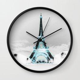 Paris Black & White + Blue Wall Clock