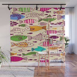 Colorful Vintage Retro Styled Illustrated Fish School Design Wall Mural