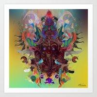 ganesha Art Prints featuring Ganesha by Archan Nair