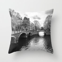 Bridge over canals in Amsterdam Throw Pillow
