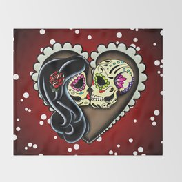 Ashes - Day of the Dead Couple - Kissing Sugar Skull Lovers Throw Blanket