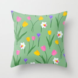 Colorful spring flowers on sage green pattern Throw Pillow