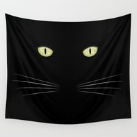 black cat Wall Tapestries featuring black cat by ovisum