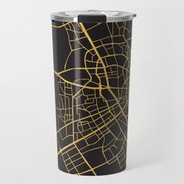 DOHA QATAR GOLD ON BLACK CITY MAP Travel Mug