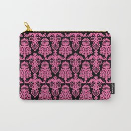 Floral Pattern Pink & Black Carry-All Pouch