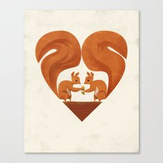 Love Heart Squirrels Canvas Print