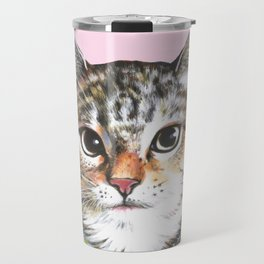 cat in tropical shirt Travel Mug