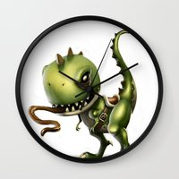 yoshi Wall Clocks featuring Evil Yoshi by Danilo Fiocco