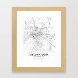 Zielona Gora, Poland - Light Map Framed Art Print