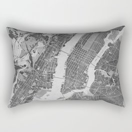 Vintage map of New York City in gray Rectangular Pillow