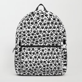 Dog Paws, Traces, Paw-prints - White Black Backpack