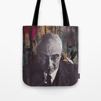 philosophy Tote Bags featuring The Philosophy of Composition by Collage Calamity